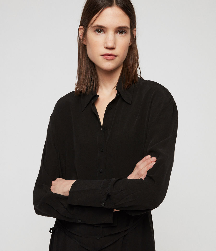 Allsaints Us Womens Anya Shirt Dress Black