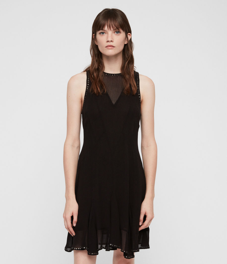 Womens Eleanor Stud Dress (black) - Image 3