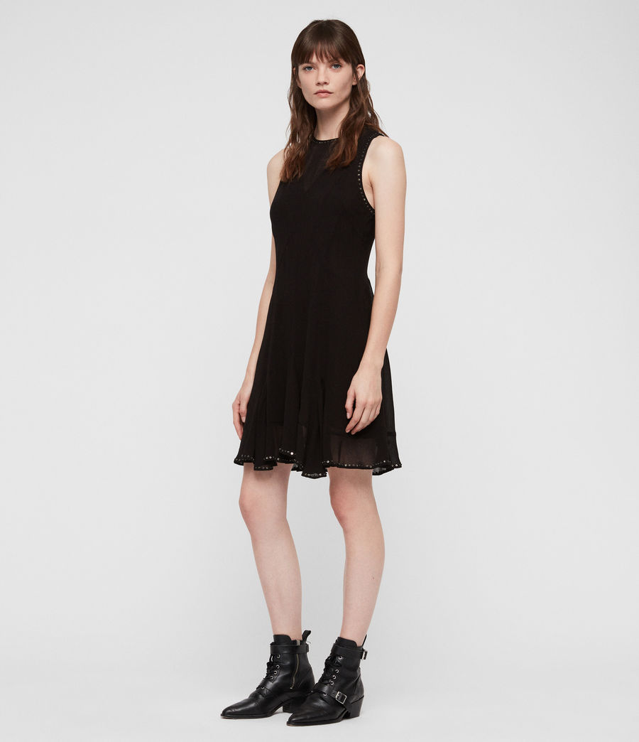 Womens Eleanor Stud Dress (black) - Image 4