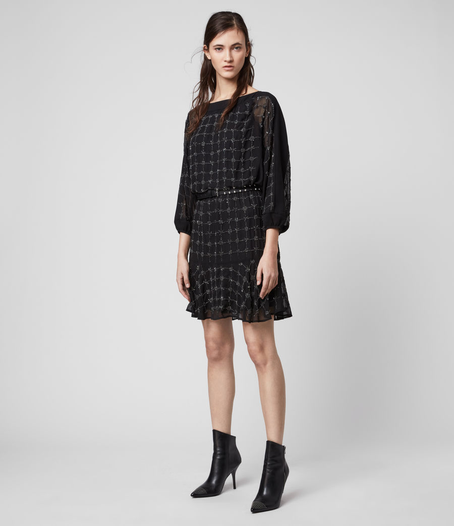 Damen Laci Grid Kleid (black) - Image 1