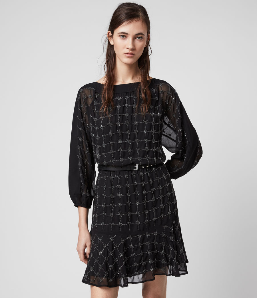 Damen Laci Grid Kleid (black) - Image 3