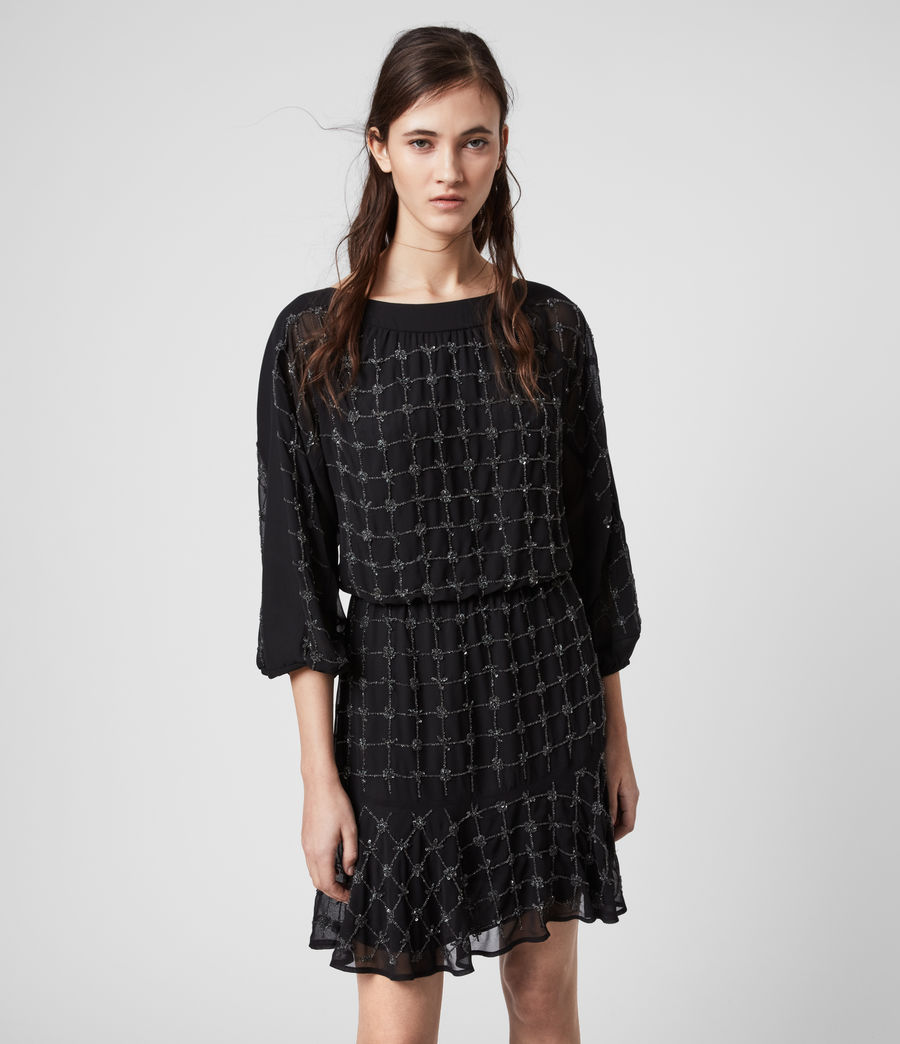 Damen Laci Grid Kleid (black) - Image 4