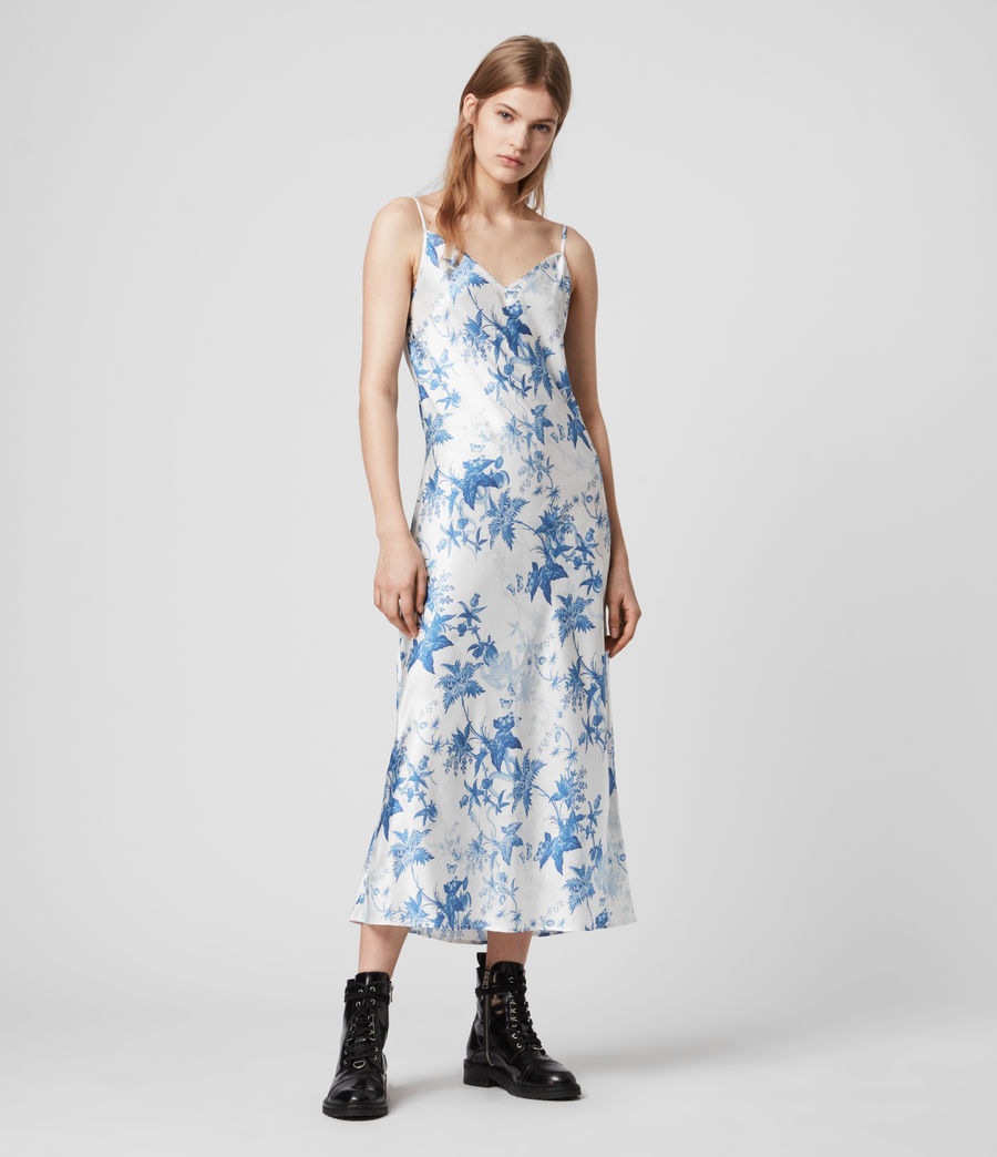 Mujer Tierney Silk Blend Evolution Slip Dress (cornflower_blue) - Image 3
