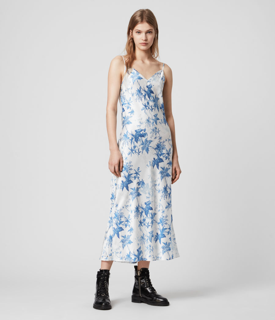 Mujer Tierney Silk Blend Evolution Slip Dress (cornflower_blue) - Image 4
