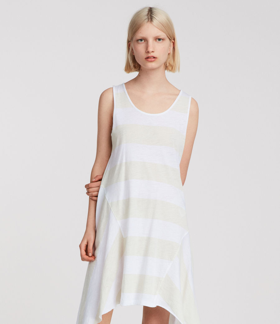 Womens Ella Stripe Dress (vintage_opticwhite) - Image 1