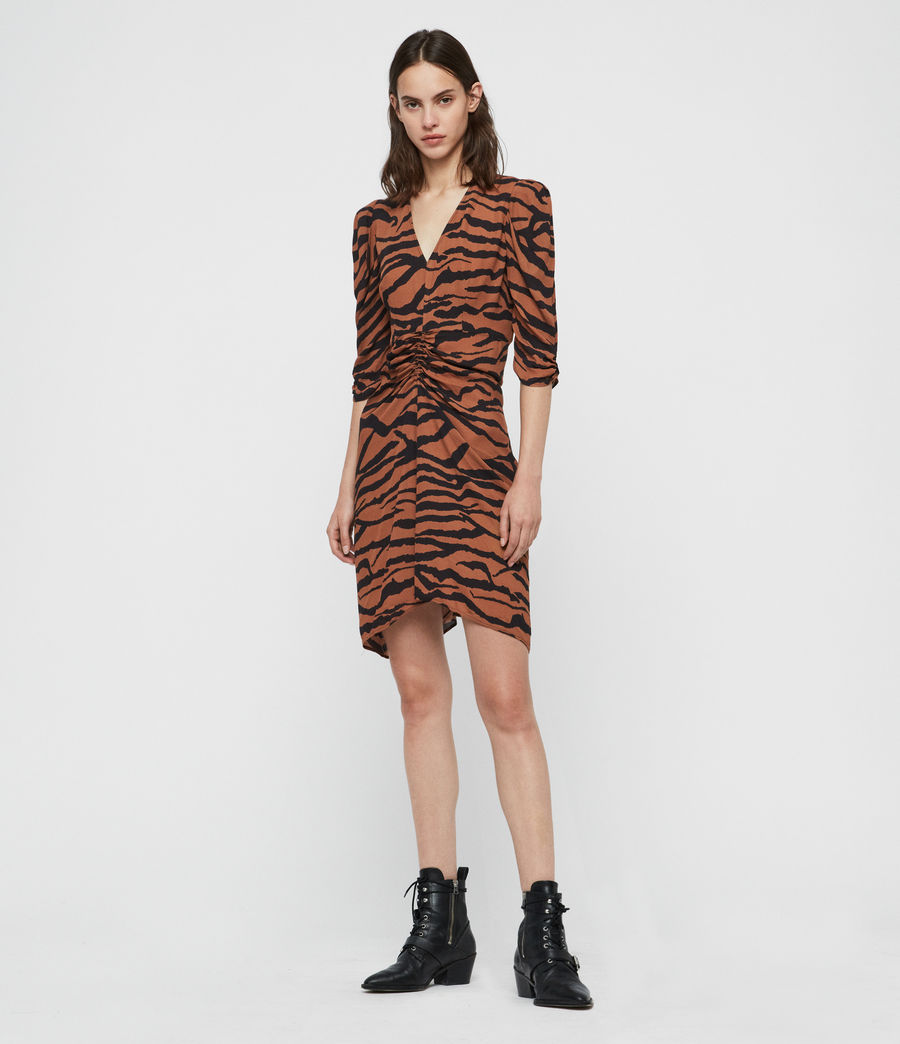 Women's Josephine Zephyr Dress (toffee_brown_black) - Image 3