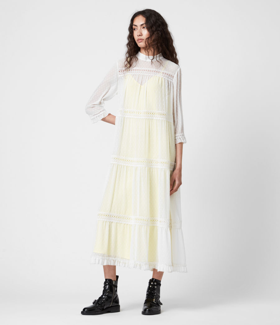 Damen Nima Dobby Dress (chalk_white_yellow) - Image 1