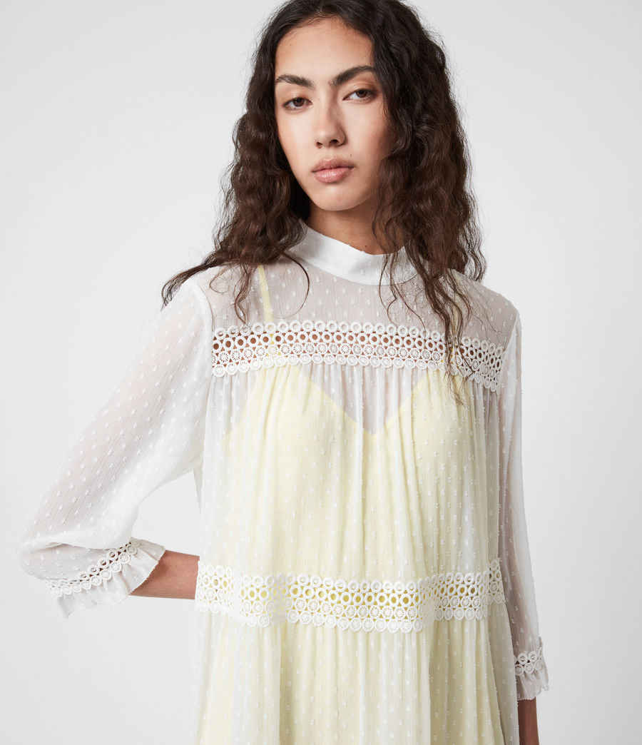 Damen Nima Dobby Dress (chalk_white_yellow) - Image 4