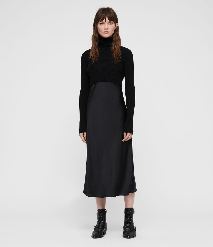 Womens Kowlo Roll Neck Dress (black) - Image 4
