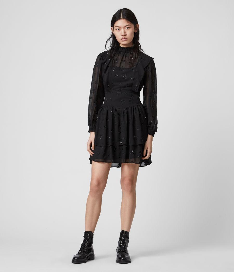 Damen Aislyn Ditsy Kleid (black) - Image 1