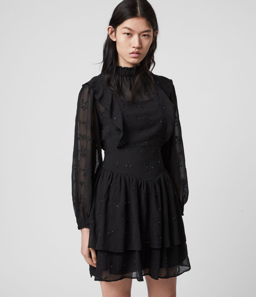 Damen Aislyn Ditsy Kleid (black) - Image 3