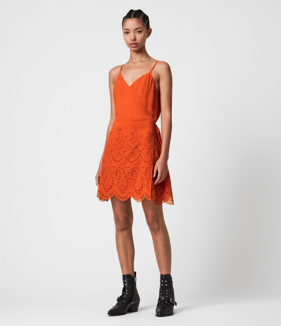 Damen Zariah Slipkleid (hot_tango_orange) - Image 1
