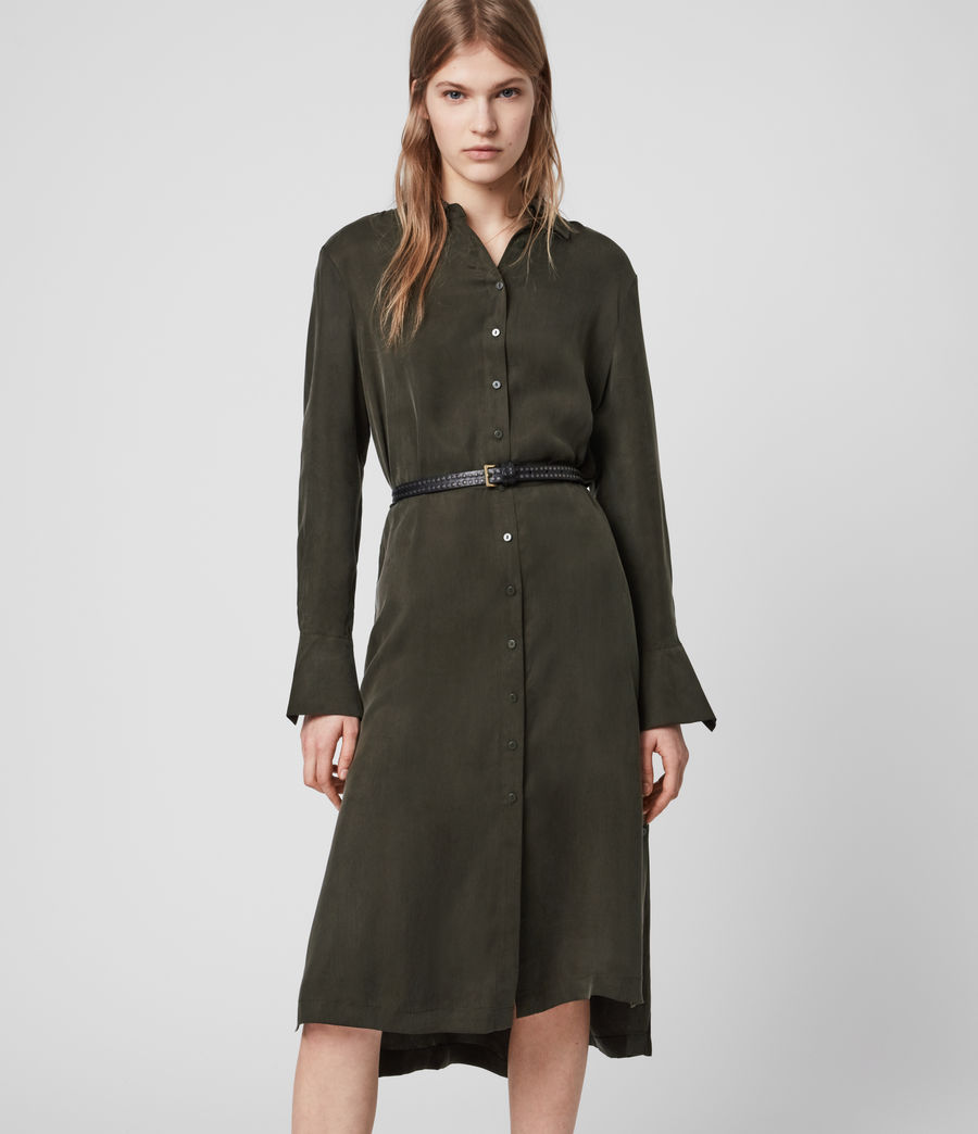 Damen Anya Shirt Kleid (military_green) - Image 1