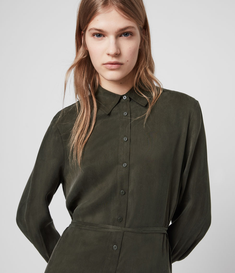 Womens Anya Shirt Dress (military_green) - Image 2