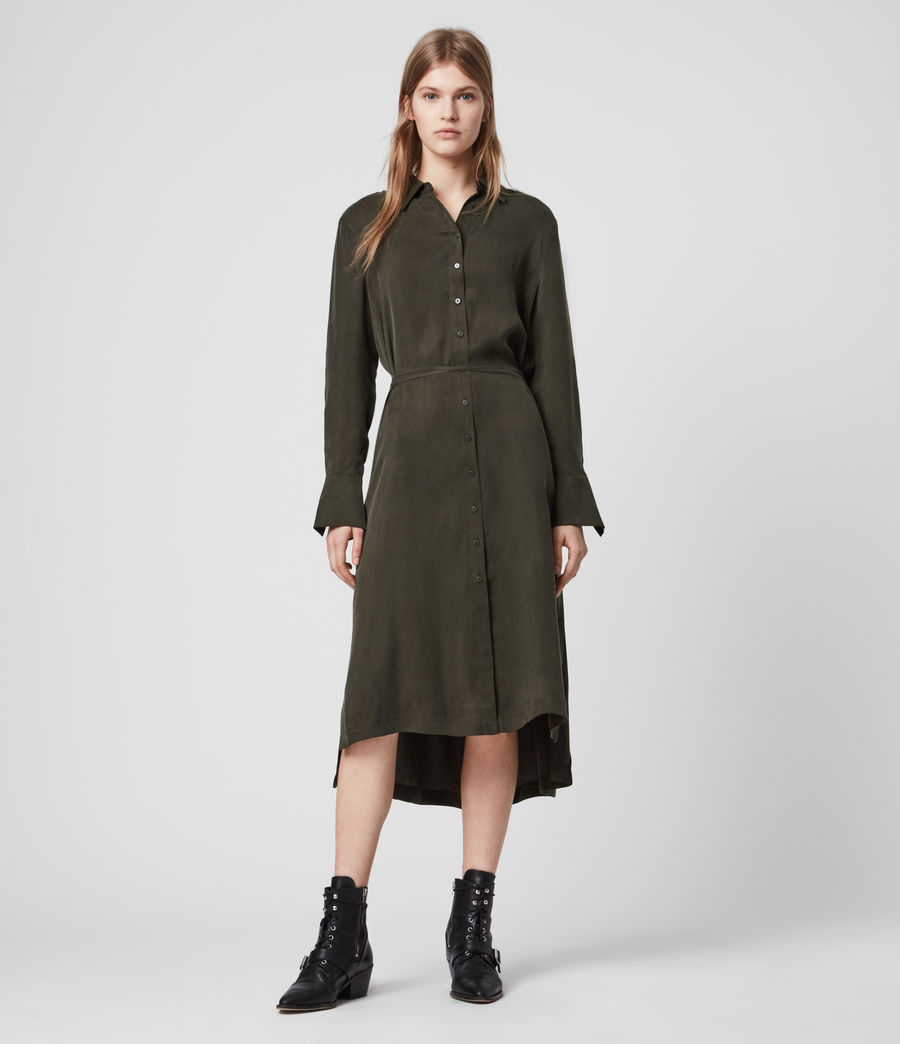 Womens Anya Shirt Dress (military_green) - Image 3