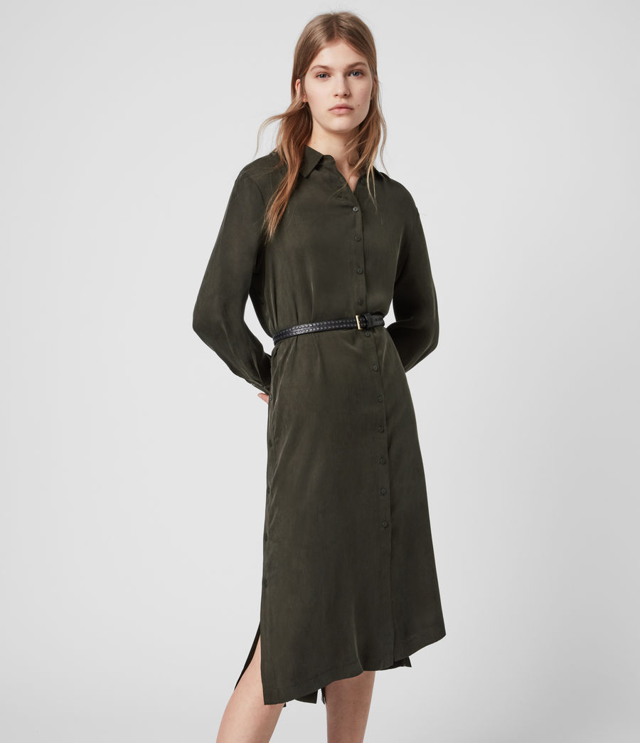 Womens Anya Shirt Dress (military_green) - Image 4