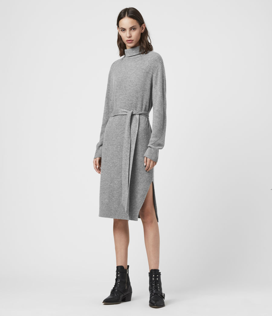 Womens Roza Cashmere Blend Jumper Dress (pale_grey) - Image 1