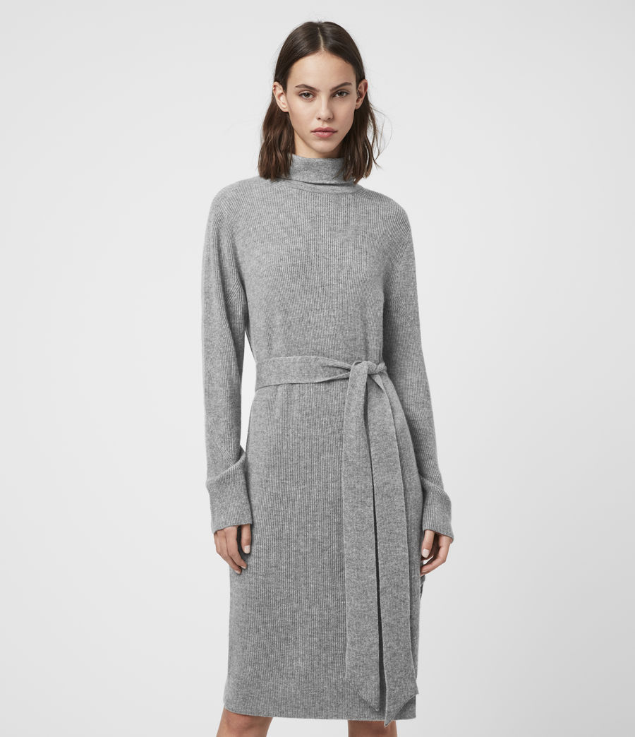 Womens Roza Cashmere Blend Jumper Dress (pale_grey) - Image 3