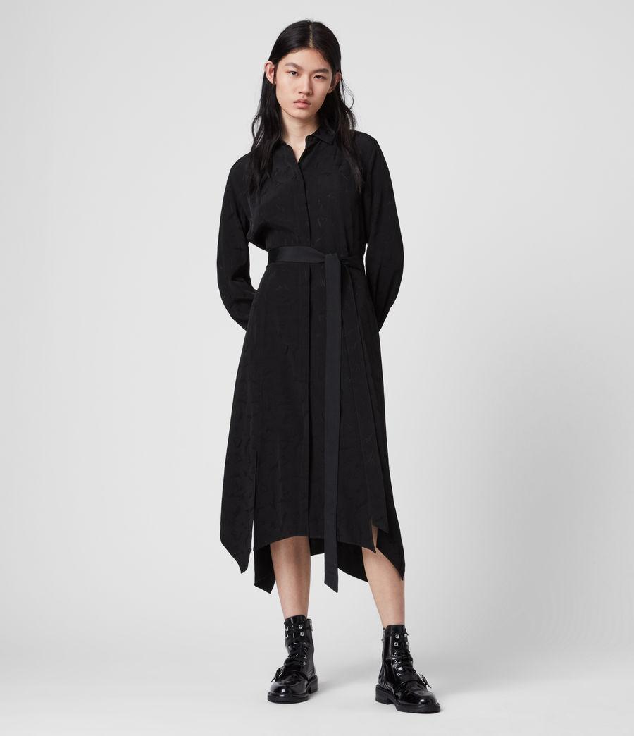 Mujer Vestido Camisero con Bordados Tilly Valentine (black) - Image 1