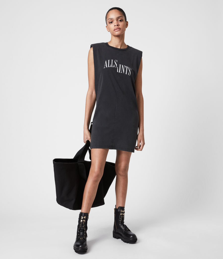 Women's Coni Organic Cotton Dropout Dress (acid_washed_black) - Image 4