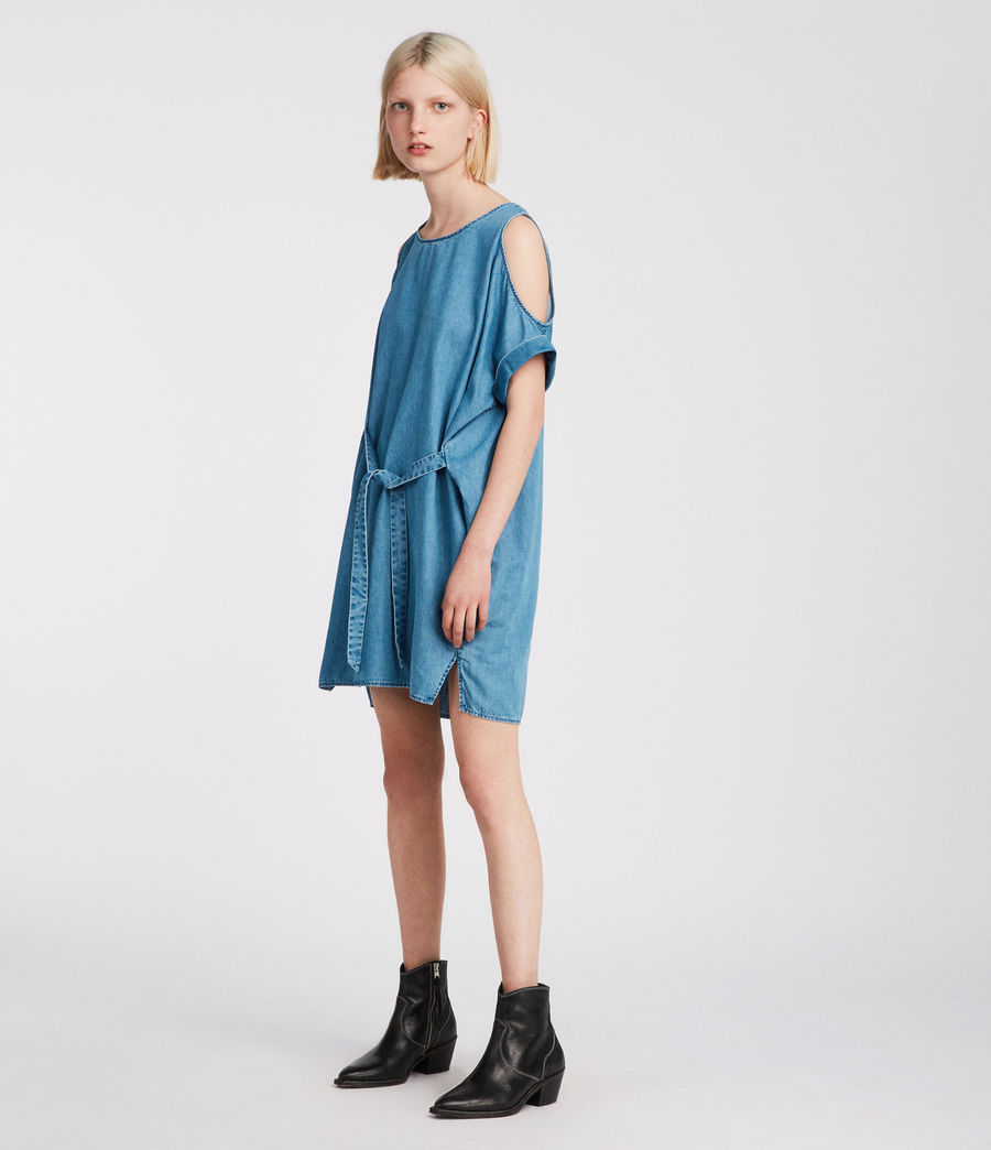 Womens Remi Chambray Dress (mid_indigo_blue) - Image 1