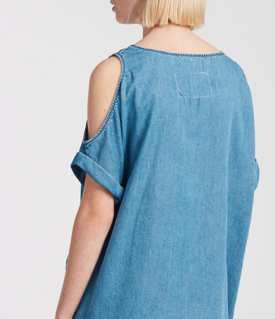 Womens Remi Chambray Dress (mid_indigo_blue) - Image 4