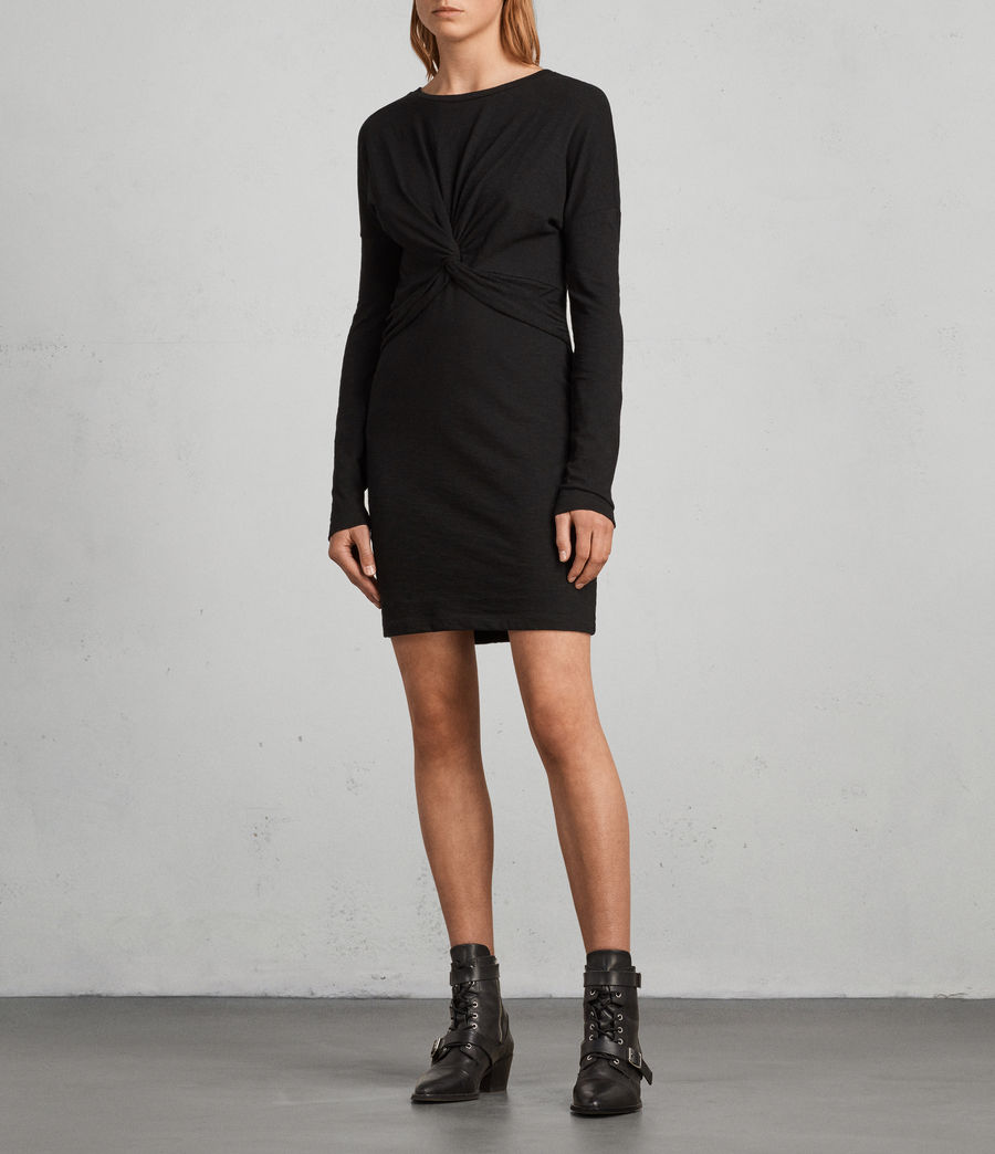 Womens Paloma Long Sleeve Dress (black) - Image 3