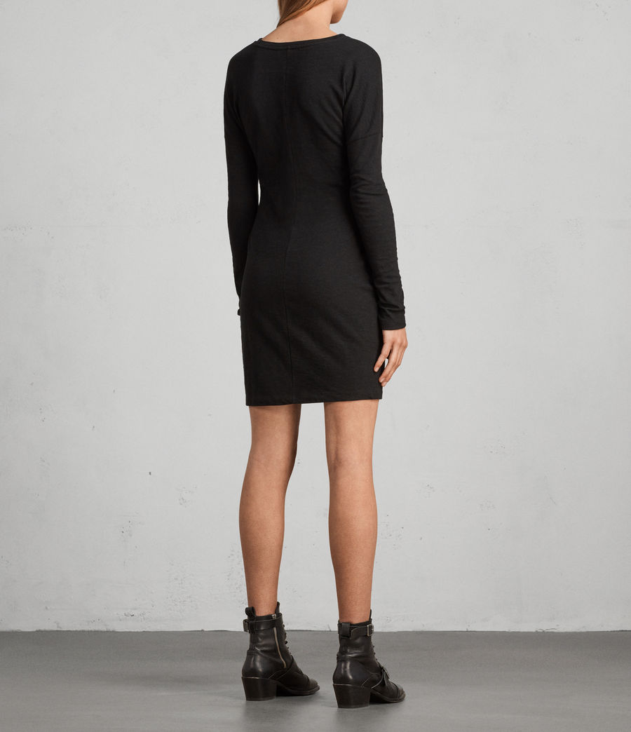 Womens Paloma Long Sleeve Dress (black) - Image 4
