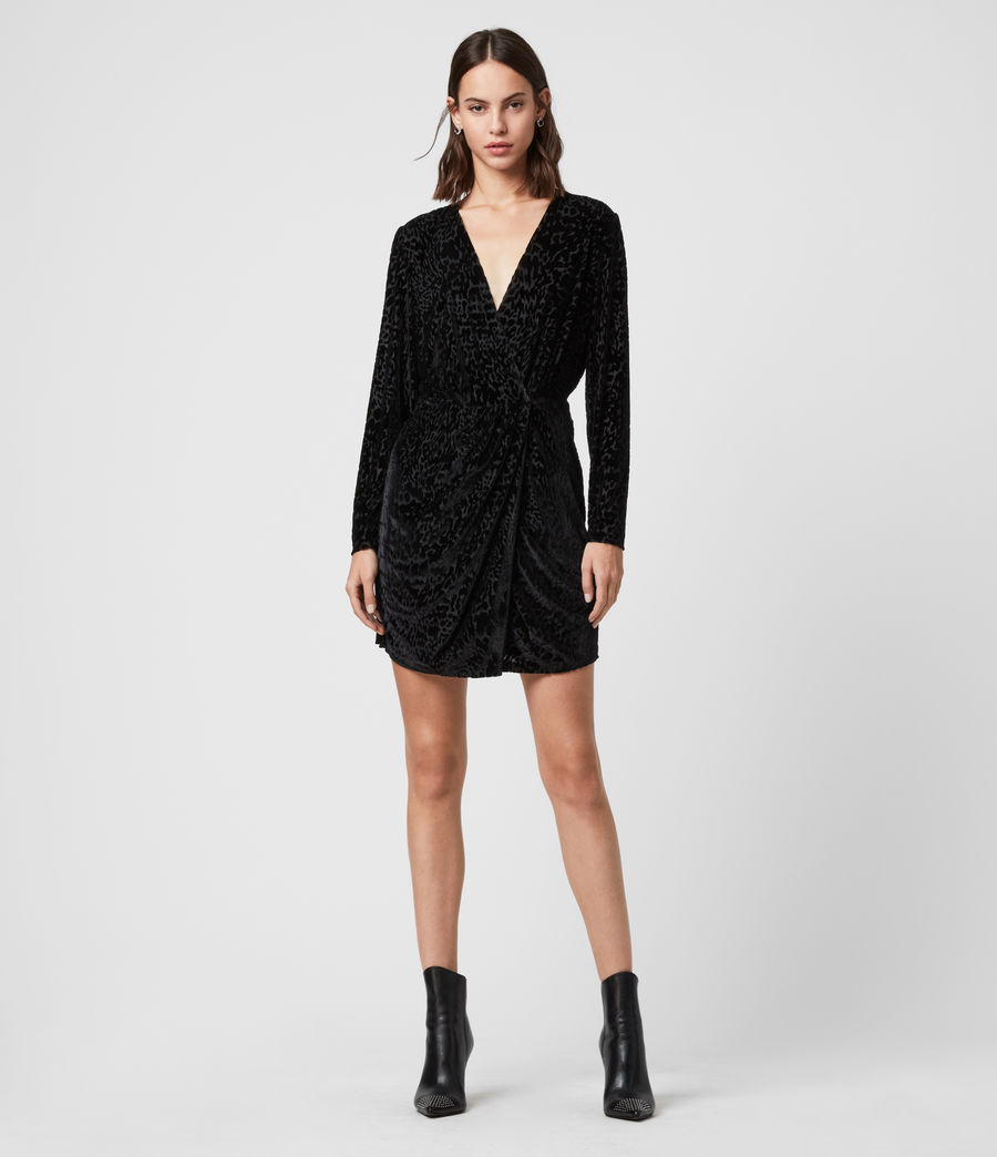 Womens Laney Devore Dress (black) - Image 1
