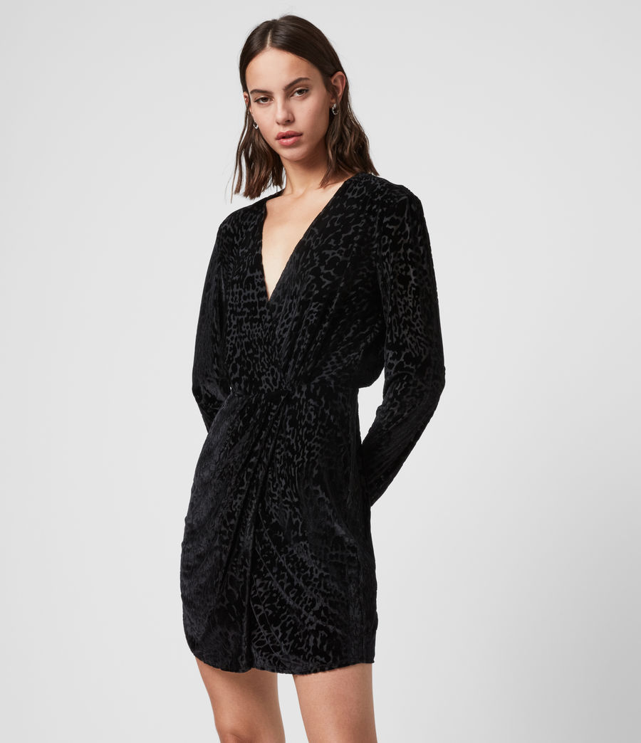 Womens Laney Devore Dress (black) - Image 2