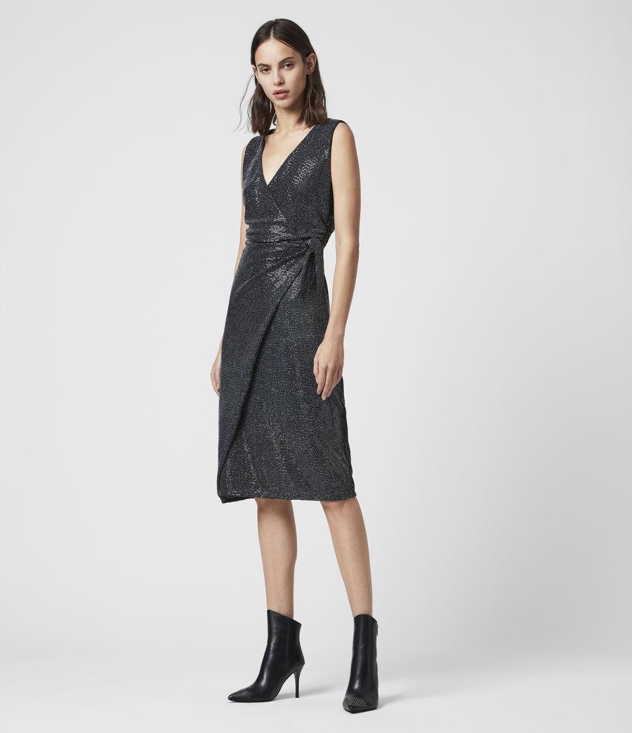 Womens Allegra Wrap Shimmer Dress (black) - Image 1
