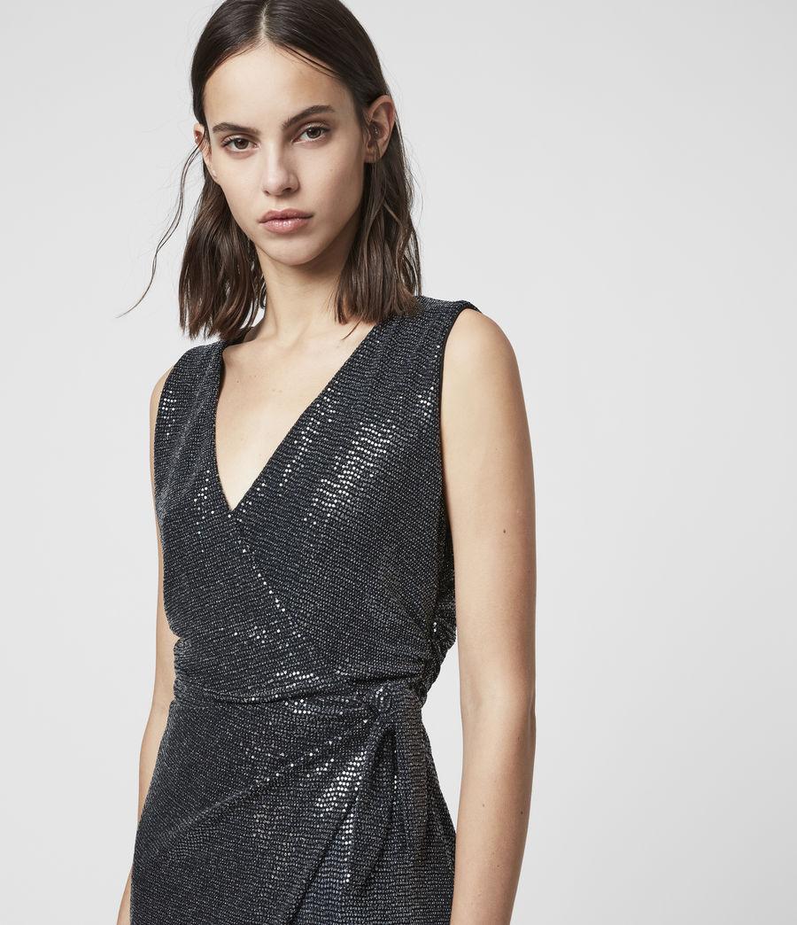 Womens Allegra Wrap Shimmer Dress (black) - Image 2