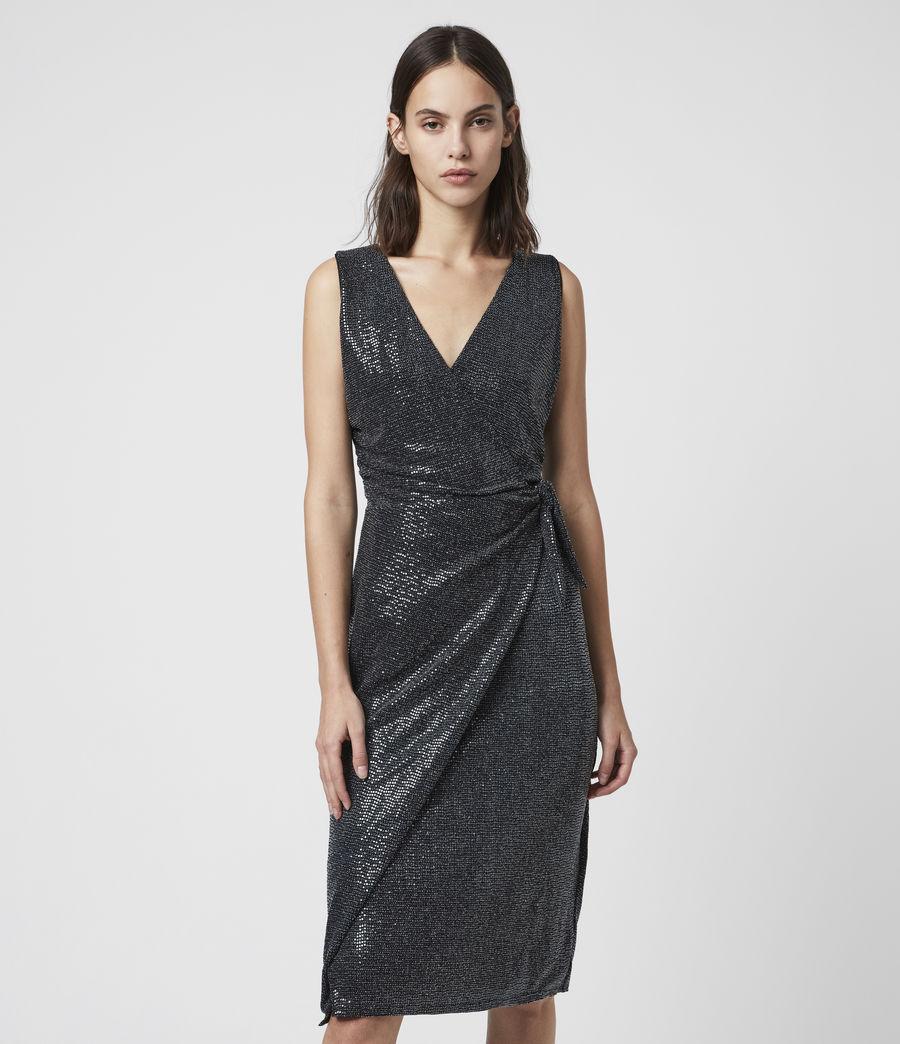 Womens Allegra Wrap Shimmer Dress (black) - Image 3
