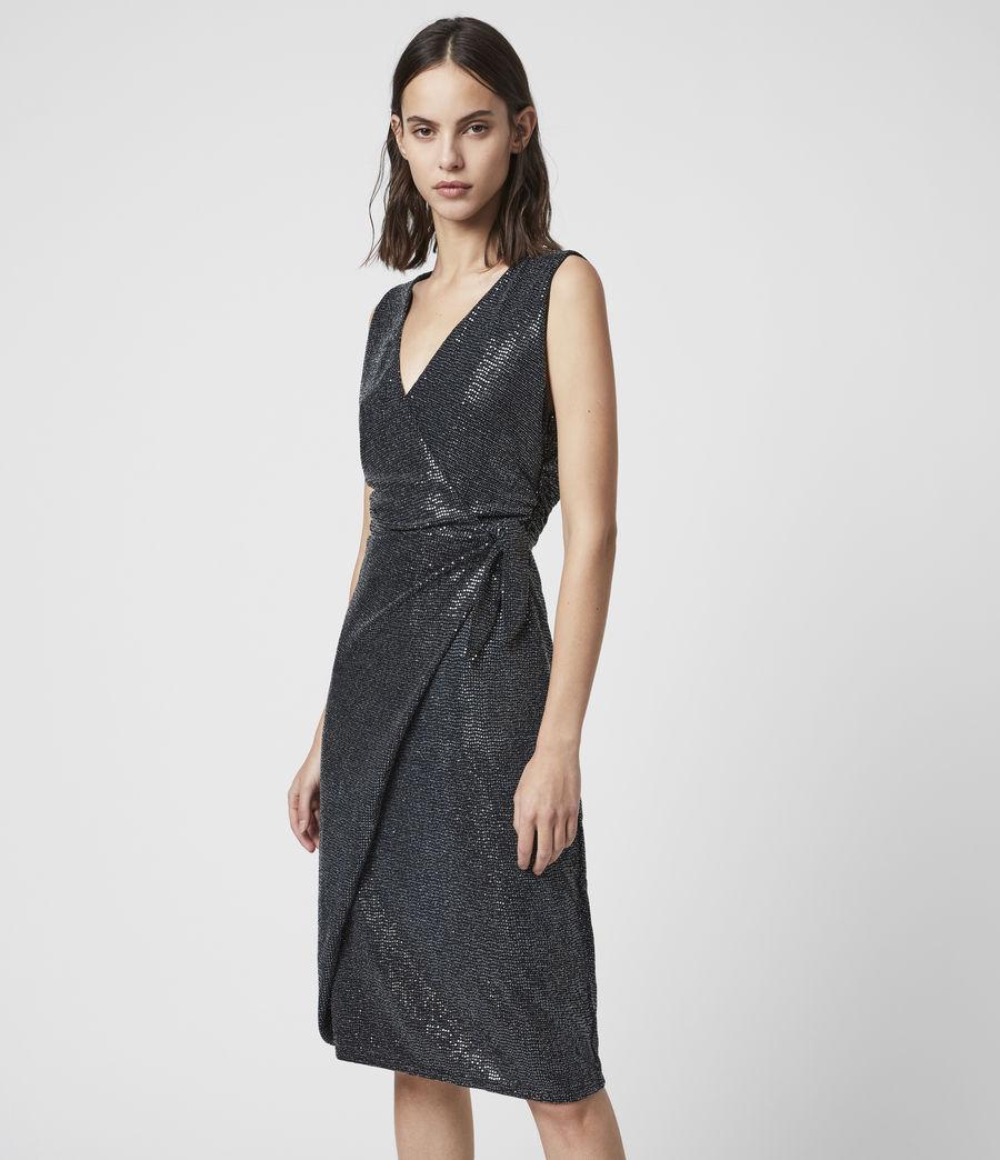 Womens Allegra Wrap Shimmer Dress (black) - Image 4