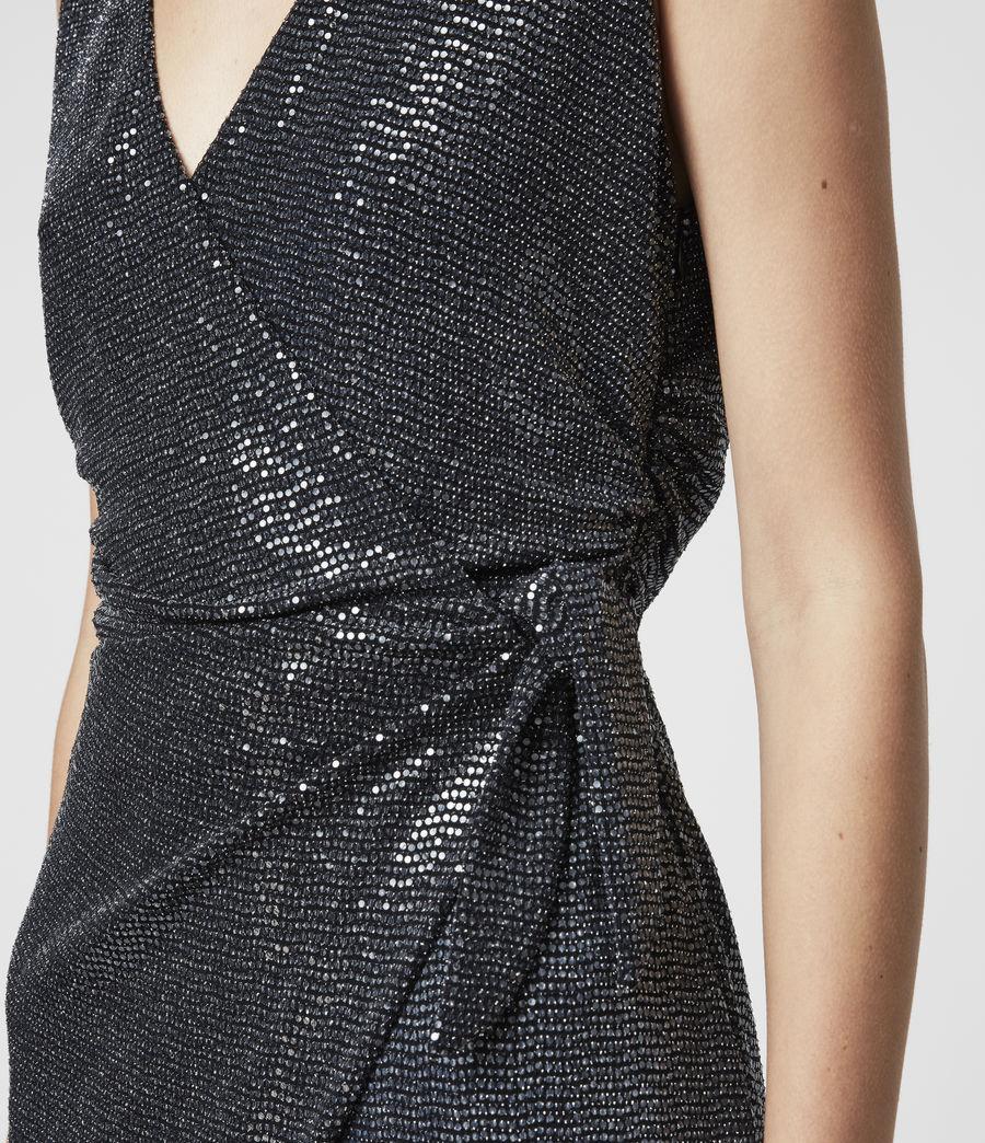 Womens Allegra Wrap Shimmer Dress (black) - Image 5