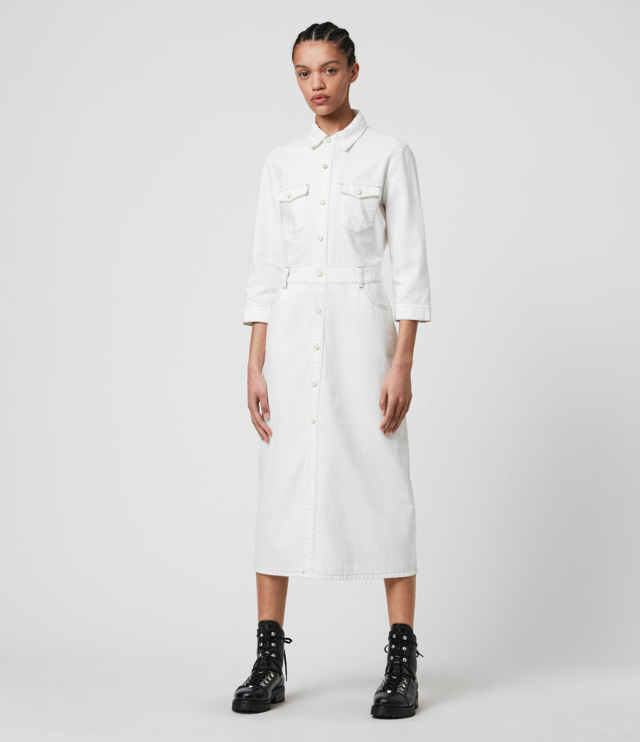 Women's Polly Denim Dress (white) - Image 3