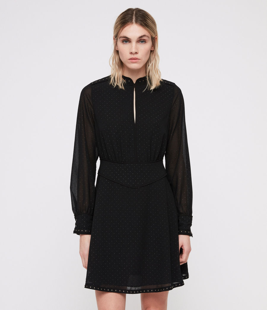 Damen Kay Stud Kleid (black) - Image 1