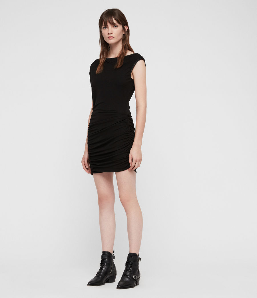 Womens Mae Jersey Dress (black) - Image 3