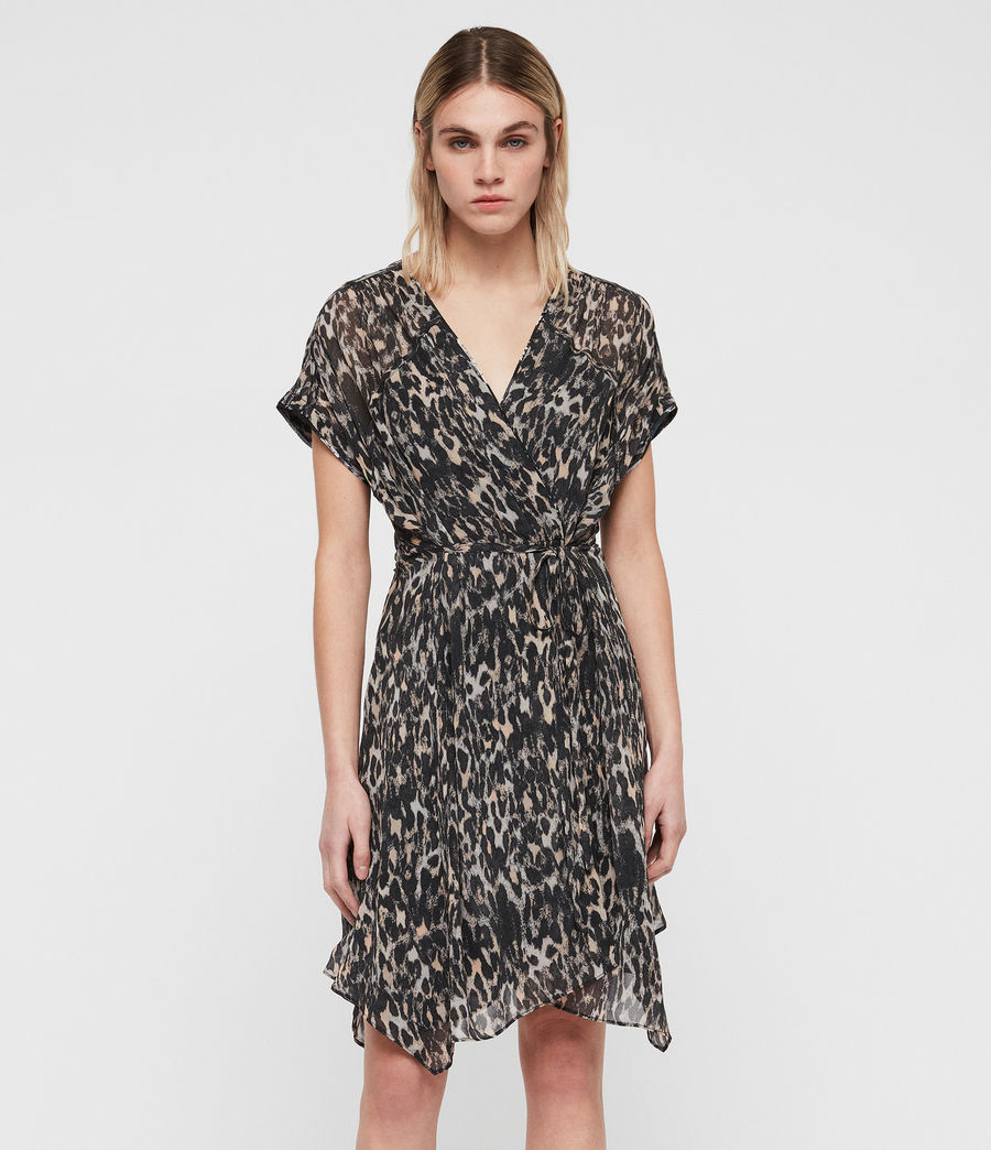 Womens Claria Leopard Dress (grey) - Image 1