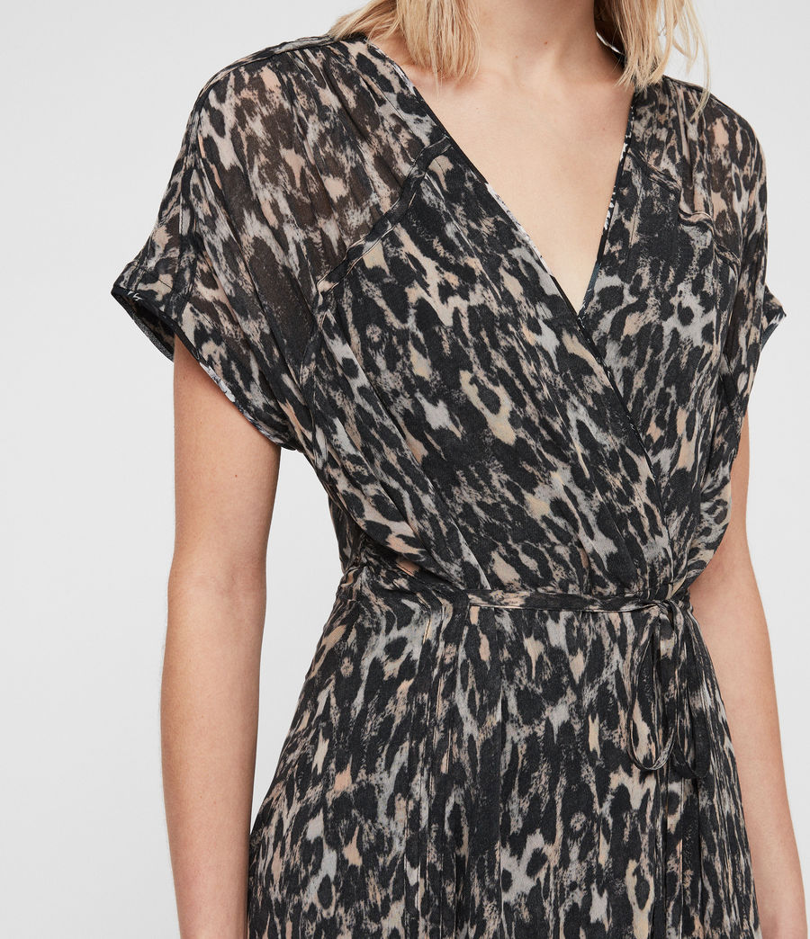Womens Claria Leopard Dress (grey) - Image 2