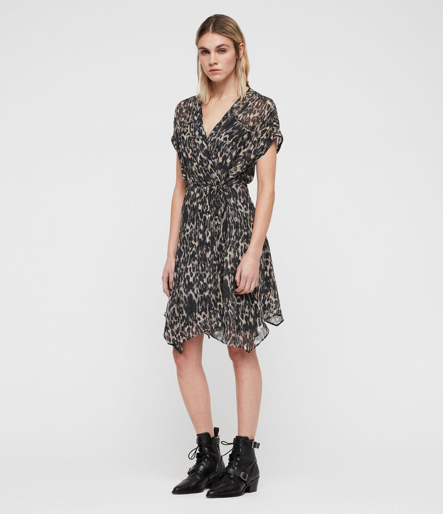 Womens Claria Leopard Dress (grey) - Image 3
