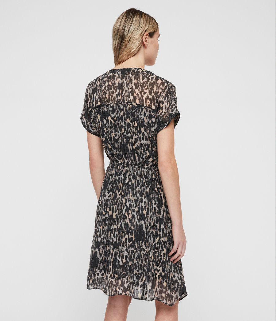 Womens Claria Leopard Dress (grey) - Image 4