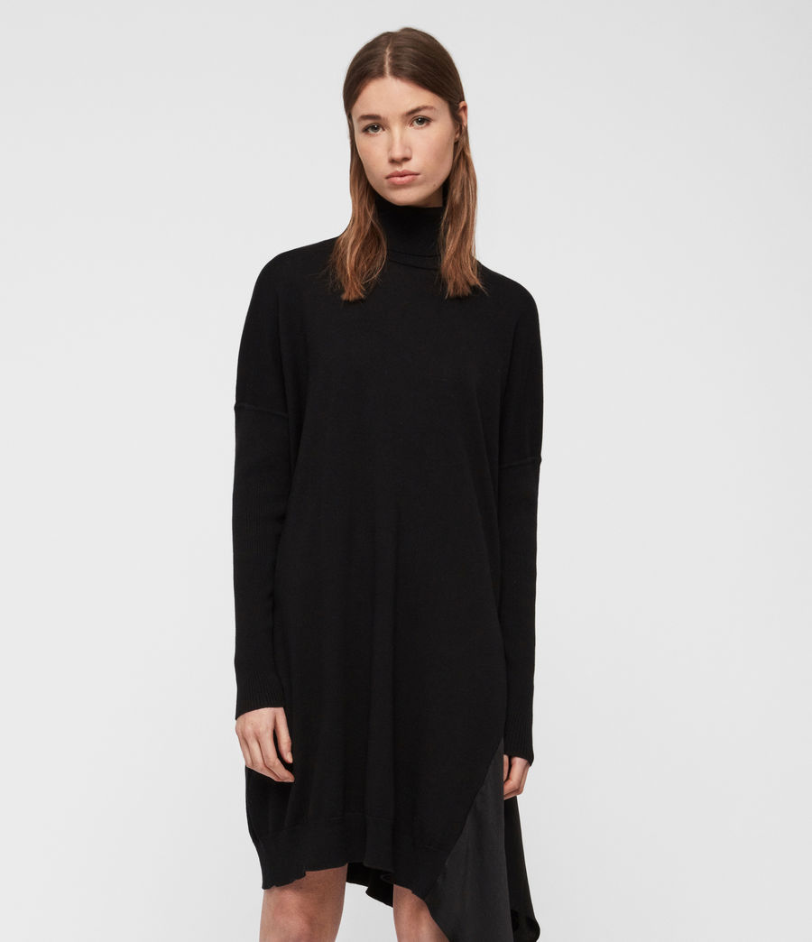 Women's Alda Roll Neck Dress (black) - Image 3