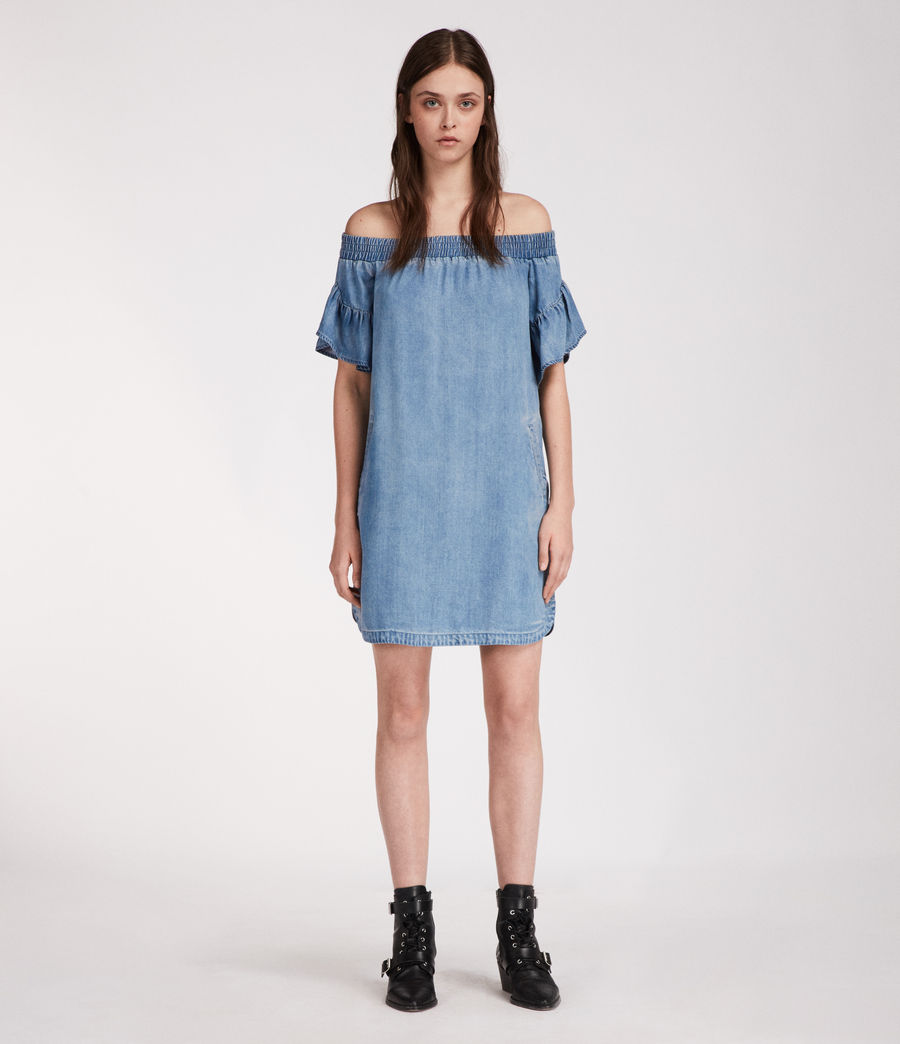 Womens Adela Chambray Dress (mid_indigo_blue) - Image 1