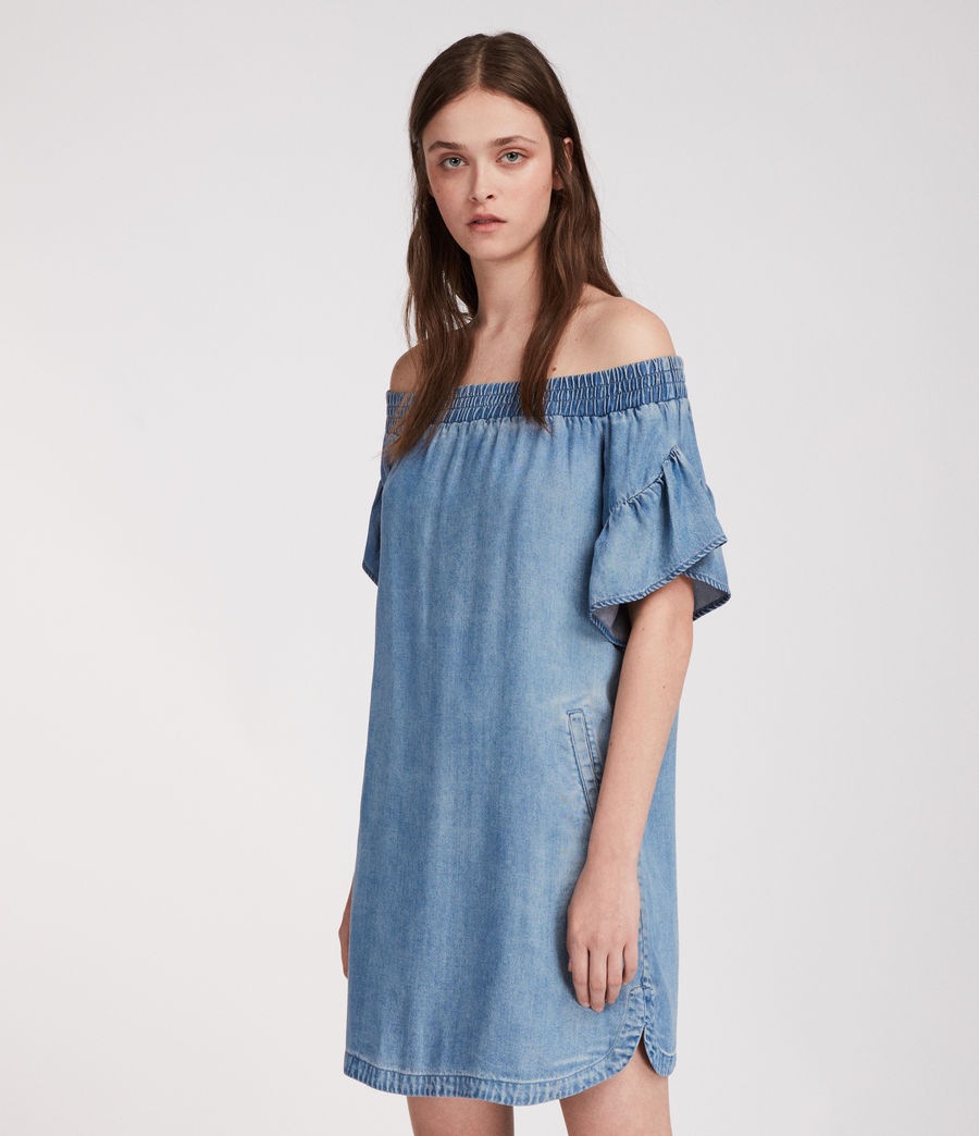 Womens Adela Chambray Dress (mid_indigo_blue) - Image 2