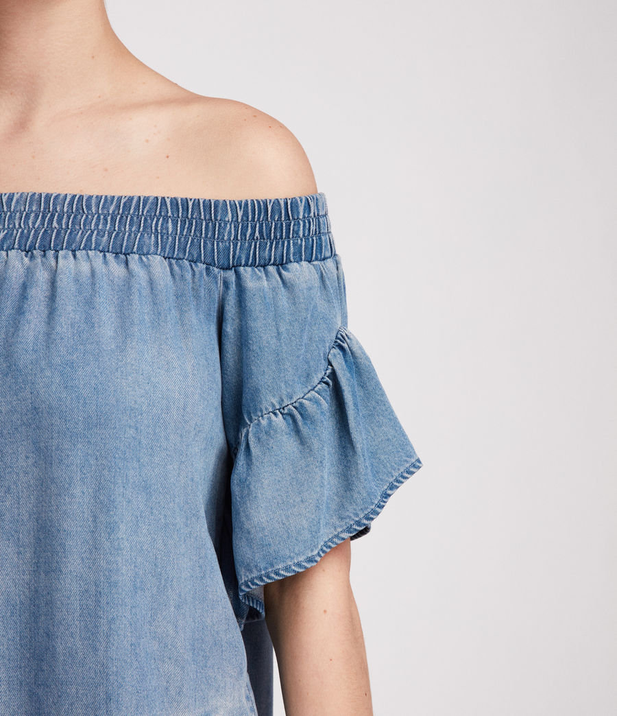 Womens Adela Chambray Dress (mid_indigo_blue) - Image 4