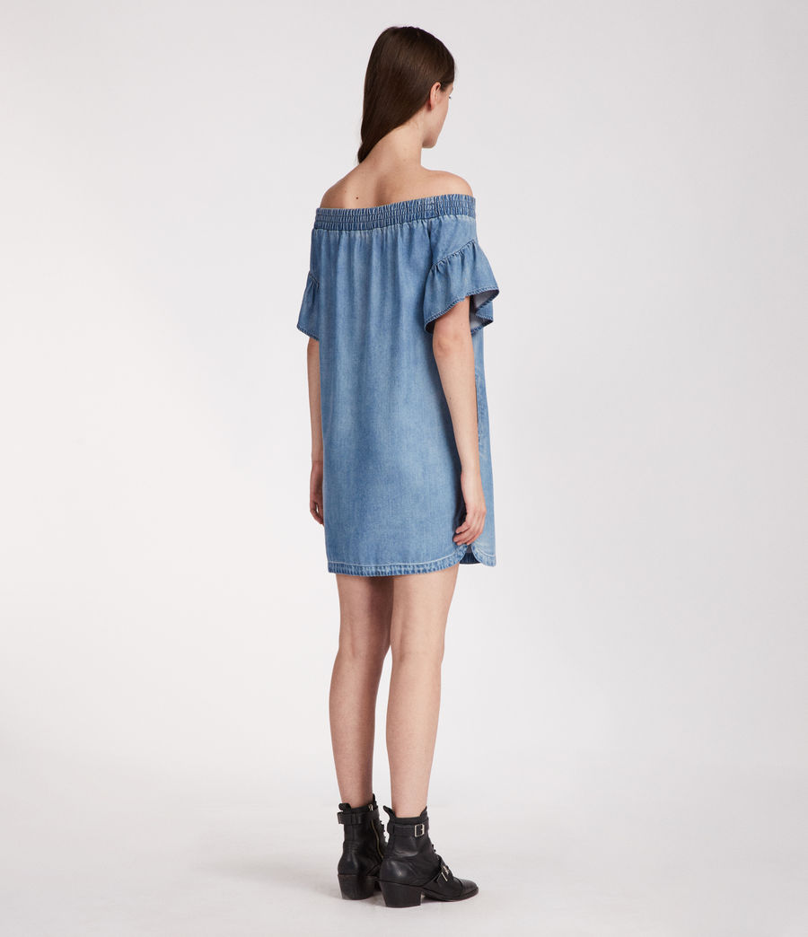 Womens Adela Chambray Dress (mid_indigo_blue) - Image 5