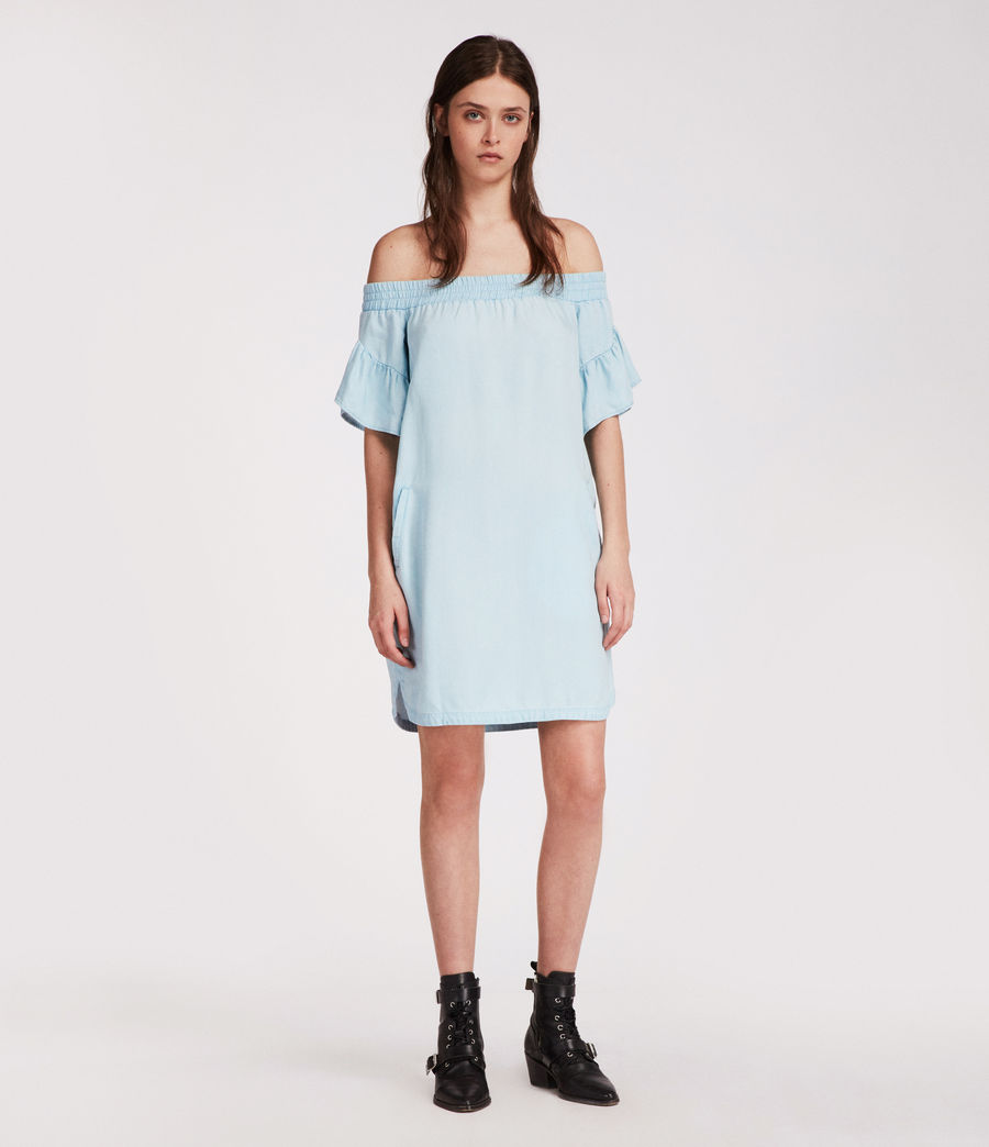 Womens Adela Chambray Dress (bleachedindigoblue) - Image 1