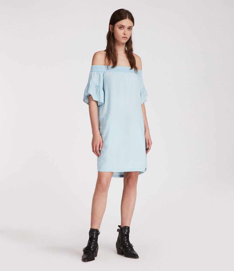 Womens Adela Chambray Dress (bleachedindigoblue) - Image 3