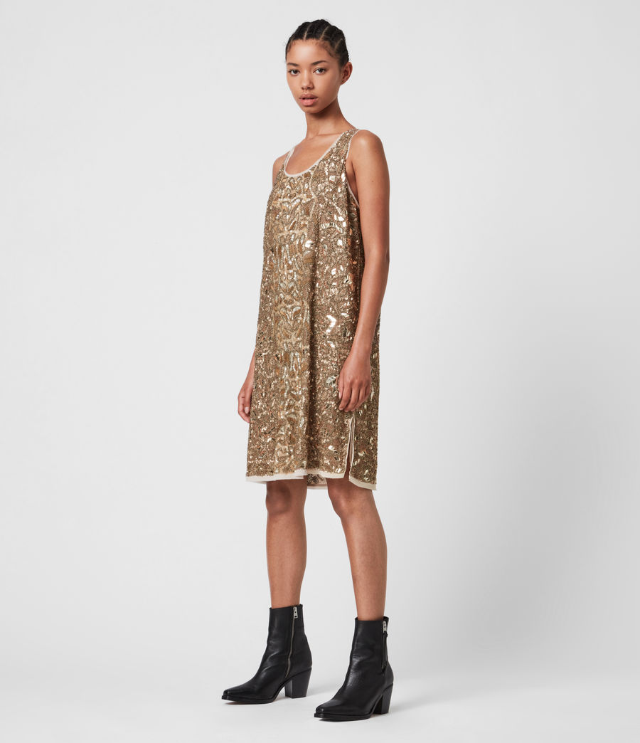 Womens Brellie Embellished Dress (gold) - Image 1